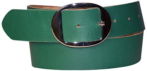 FRONHOFER Damengürtel 4 cm, Gürtel mit ovaler Gürtelschnalle silber, Sommergürtel, Jeansgürtel, 17881, Größe:Körperumfang 110 cm/Gesamtlänge 125 cm, Farbe:Jade