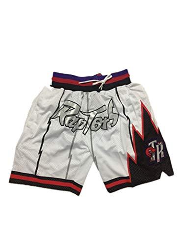 JIMING Pantalones cortos de baloncesto para hombre, Raptors son retro y cómodos. Un pantalón corto unisex blanco-M