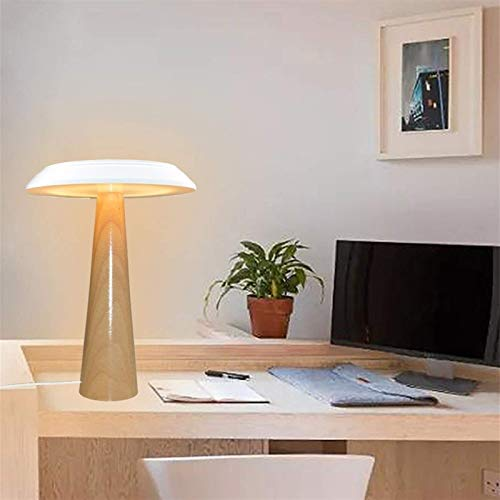 Lámpara de Escritorio Lámpara Sala de Madera Creativa Cómoda Sala de Estudio LED Lámpara de Mesa de Seta Verde de Madera Simple Moderna (25 * 34 CM) (Color:Blanco) (Color : White)