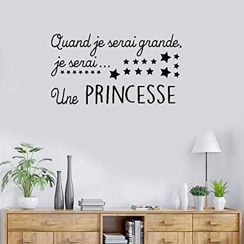 Wandaufkleber, Vinyl, Zitat Quand Je Serai Grande, Je Serai Une Princesse für Mädchenzimmer, Kinderzimmer, Kinderzimmer, Hausdekoration, Geschenkidee, 24,9 x 44,6 cm