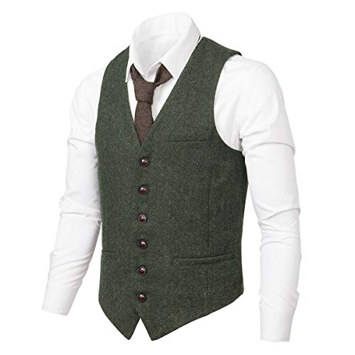 VOBOOM Men's Slim Fit Herringbone Tweed Suits Vest Premium Wool Blend Waistcoat (Army Green, Large)