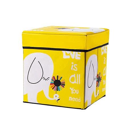 Caja de cubo con cojín de espuma plegable caja de almacenamiento plegable reposapiés cuadrado asiento organizador de juguetes para niños (30 x 30 x 30 cm) (color: amarillo)
