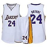 Lakers NuméRo 24 RéTro VêTements De Basket, Gilet De Sport + Short Ensemble Deux PièCes, Adulte Enfant Tenue De Sport VêTement De Tous Les Jours, XXS-5XL,C,XS
