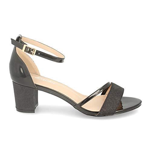 Sandalia Mujer Ankle Strap de Vestir con Tacon, Detalle Brillante y Pulsera con Hebilla en el Tobillo. Primavera Verano 2020. Talla 38 Negro