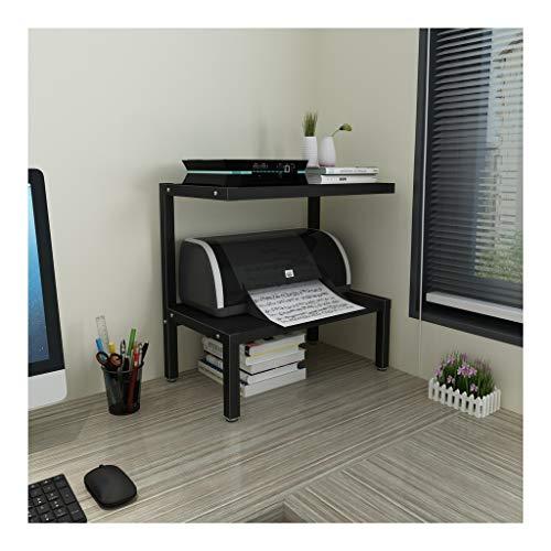 Soporte de Impresora Base de la impresora hogar con estantes de almacenamiento de 2 niveles estructura de acero, la madera multiuso Organizador de escritorio de la máquina de fax, escáner, archivos, l