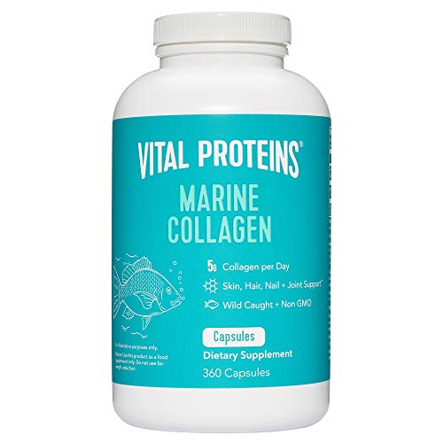 Vital Proteins Marine Collagen Peptides Capsule Supplement for Skin Hair Nail Joint, Hydrolyzed Collagen - Dairy and Gluten Free, Non-GMO Project Verified (360 Capsules)