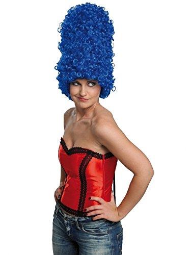 Blaue Perücke Margarethe blau Turmfrisur Lockenpracht Locken Marge Simpson