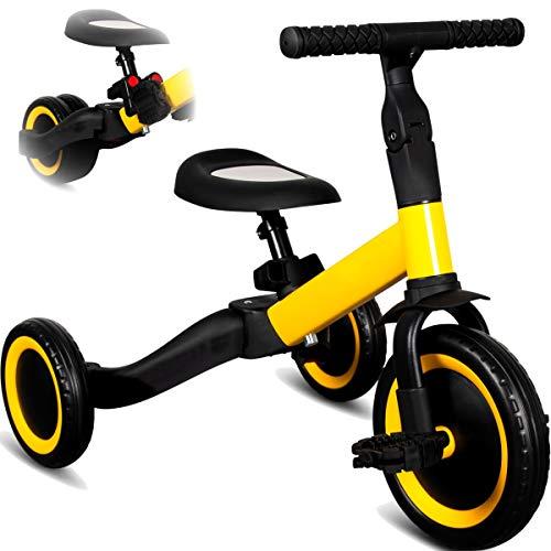 Stimo 3IN1 umbaubares Laufrad Dreirad mit oder ohne Pedale Fahrrad für Kinder ab 12 Monaten (mitwachsend) (Gelb)