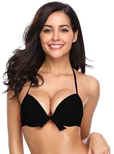 SHEKINI Damen Bikini Oberteil Mit Bügel Figurformend V Ausschnitt Triangel Neckholder Schleife Schwarz Push Up Top (Small, Schwarz)
