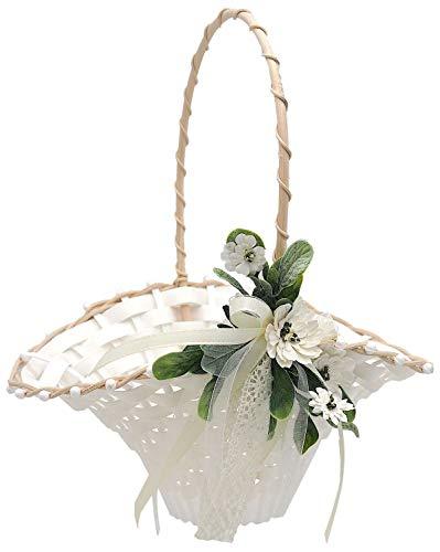 ZauberDeko Blumenkörbchen Hochzeit Vintage Streukörbchen Creme Weiß Blumenkind INA