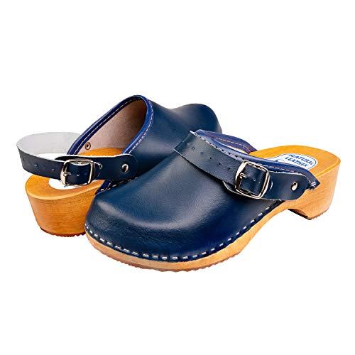 Slippers World, zoccoli in pelle da donna, svedese naturale, con suola in legno, facili da indossare, con fibbia a strappo, finitura liscia, disponibili in tutte le taglie UK, Blu (Blu scuro), 40 EU