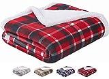 Sedona House Sherpa Blanket Throw Red Plaid - Luxury Flannel Fleece Comfort Cozy Fuzzy Blanket, Size...