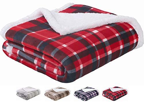 SEDONA HOUSE Sherpa Blanket Throw Red Plaid - Luxury Flannel Fleece Warm Cozy Fuzzy Blanket, Size 50'x60'