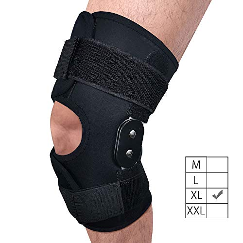 FunCee Hinged Knee Brace, 4 available sizes Adjustable Compression Wrap for Men & Women, Knee Support for ACL, Tendon, Ligament & Meniscus Tear Injuries, Sports in Gym Basketball Running Football (XL)