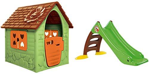 Dohany Spielhaus Kinderspielhaus Gartenhausmit Rutsche120 cm Indoor Outdoor +2J … (grün braun)