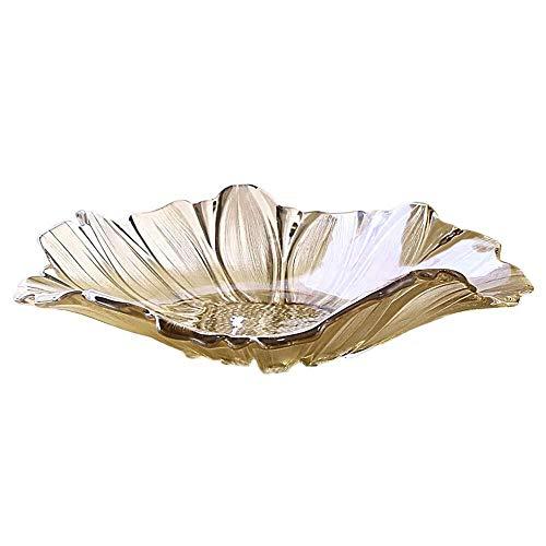 YUQIYU Crystal Europea Jane Vajilla de cristal de la perla de la sala de estar Mesa de fruta placa decorativa accesorios for el hogar KTV regalo práctico Adornos moderna 40.5X9cm elegante y hermosa