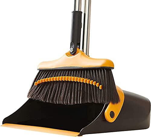 Broom and Dustpan Set With Long Handle - Kitchen Brooms and Stand Up...