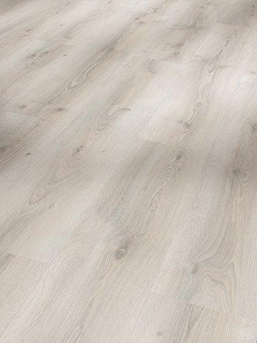 Parador Klick Laminat Bodenbelag Basic 600 Eiche Askada weiß gekälkt Landhausdiele Naturstruktur Fuge 2,186m² hochwertige Holzoptik hell grau/weiß, 8 mm, einfache Verlegung