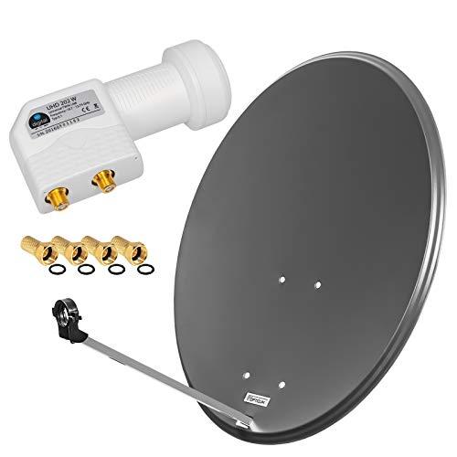 HD Digital SAT Anlage 80cm Spiegel Schüssel Anthrazit + Twin LNB 2 Teilnehmer zum Empfang von DVB-S/S2 Full HD 3D Ultra HD (UHD) Signale + Stecker Gratis dazu im Set