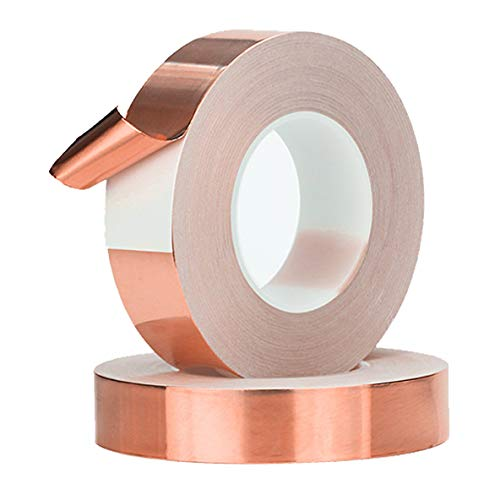 Copper Tape Single Sided Conductive Adhesive Foil Copper Tapes 2 Rolls 4 Sizes for Electrical Repairs, Slug Repellent, EMI Shielding, Stained Glass (2-Roll, 1/4inch x 11yard)
