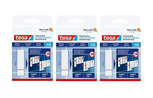 Tiras adhesivas Tesa para fijar a baldosas y metal, potencia de sujeción., 3kg | 3er Set