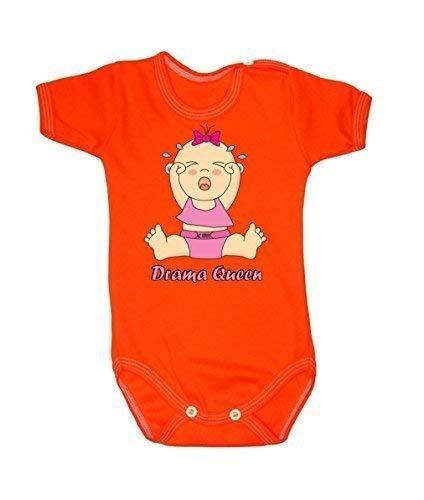 Colour Fashion Drôle Drama Queen Fille Unisexe Combinaison Manche Courte 100% Cotton Petit Bébé - 24 Mois 0035 - Orange, Tiny Baby, 52 cm
