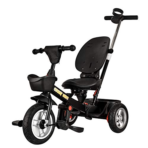 StarAndDaisy Toddlers Bicycle/Tricycle Cum Stroller with 2-way control, Footrest, Sunroof, Extra Strong and Sturdy EU Certified, 360-Degree Seat Rotation and Recline From 2-6 Yrs (Black Royal)