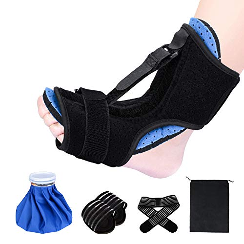 Plantar Fasciitis Night Splint, Foot Drop Orthotic Brace for Sleep Support Adjustable Elastic Dorsal Night Splint for Heel Ankle Arch Foot Pain Achilles Tendonitis with Hard Spiky Massage Ball