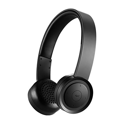 Pollini Bluetooth Headphones Over Ear, Wireless Headset V5.0 with Deep Bass, Soft Memory-Protein Earmuffs and Built-in Mic for iPhone/Android Cell Phone/PC/TV(Black)