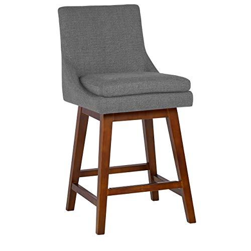 Amazon Brand – Stone & Beam Alaina Contemporary High-Back Swivel Seat Counter Stool, 39'H, Grey