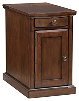 Signature Design by Ashley Laflorn Traditional Chair Side End Table with 2 USB Ports & Outlets Medium Brown