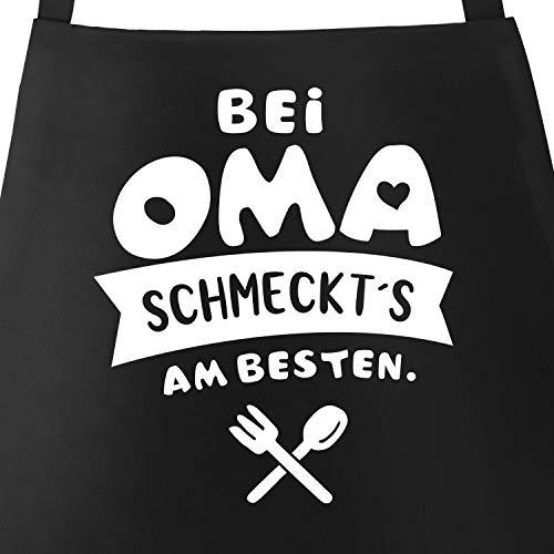 MoonWorks® Kochschürze bei Oma schmeckts am besten Grill-Schürze Spruch Schürze Küchenschürze Baumwolle schwarz Unisize