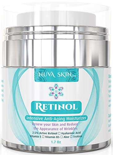 Nuva Skin Retinol Cream Moisturizer for Face and Eye Area - With Retinol, Hyaluronic Acid & Vitamin E - Anti Aging Treatment Reduces Wrinkles & Fine Lines – Gentle Day and Night Serum, 1.7 Fl Oz