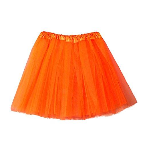 YiMiny 2020 Damen Tüllrock 50er Tütü Karneval Damen Tutu Fasching Hochwertige Plissee Gaze kurzen Rock Erwachsenen Tutu Tanzen Rock Kurz Ballett Tanzkleid Ballkleid(Orange)