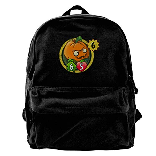 HsHdesign Classic Student Backpacks for Business Pumpkin Head Logo Women's Canvas Backpacks
