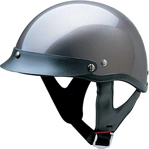 HCI Gloss Deep Silver Motorcycle Half Helmet w/Visor - ABS Shell 100-112 (Lg)