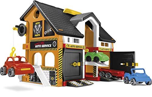 Wader 25470 - Play House Auto-Werkstatt, Spielhaus mit 3 Fahrzeugen, Servicebereich, Hebebühne und Kran, ca. 59 x 15 x 39,5 cm groß, ab 3 Jahren, ideal als Geschenk für kreatives Spielen
