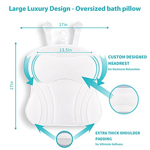Fitrace Bath Pillow, Soft Spa Bath Pillows for Tub, 17x17in Large Luxury Bathtub Pillow with 7 Strong Grip Suction Cups for Hot Tub, Jacuzzi, Spas (White)