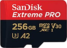 SanDisk Extreme Pro 256GB microSDXC Memory Card + SD Adapter with A2 App Performance + Rescue Pro Deluxe 170MB/s Class 10, UHS-I, U3, V30 © Amazon