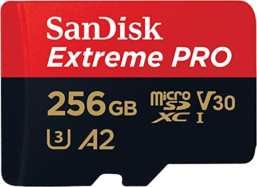 SanDisk Extreme Pro 256GB microSDXC Memory Card and SD Adapter with App Performance A2 and Rescue Pro ...