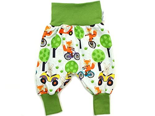 Kleine Könige Pumphose Baby Jungen Hose · Modell Fuchs Fahrrad Fox on Bike, grün · Ökotex 100 Zertifiziert · Größe 98/104