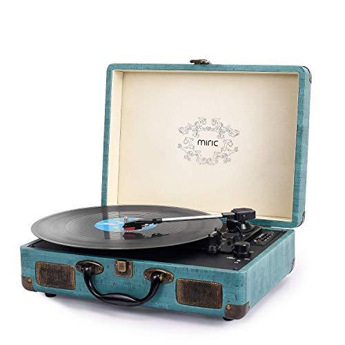 Plattenspieler, Miric Vintage Bluetooth Plattenspieler mit 2 eingebauten Lautsprechern, Kofferdesign, Tragbare Größe, 3-Gang, für 7/10/12-Inch-Schallplatten, MP3, bestes Geschenk