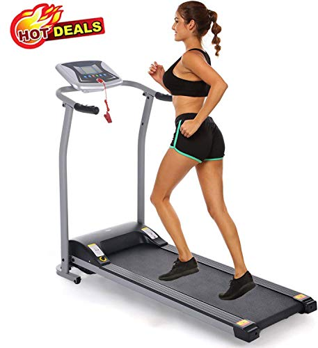 Folding Treadmill Electric Motorized Power Walking Jogging Running Exercise Fitness Machine Trainer Equipment for Home Gym Office Space Saver Easy Assembly (Grey)
