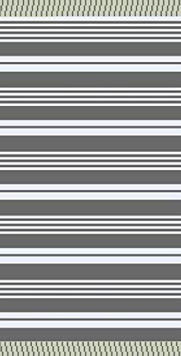 textil Tarrago strandhandduk Fouta Hamman platt 90 x 170 cm 100 % egyptisk bomull rallas grå FAC03