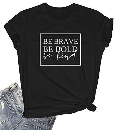 YITAN Women Cute Graphic T Shirts Cotton Casual Tops Black XX-Large
