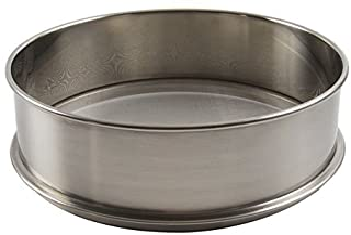 "Vollum Stainless Steel Flour Sifter 9.5"" Diameter x 2.5"" High; Mesh-Hole Size 0.3mm"