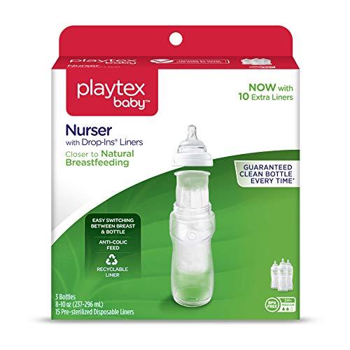 Playtex BPA Free Premium Nurser Bottles with Drop In Liners 3 Count, 8 Ounce by Playtex