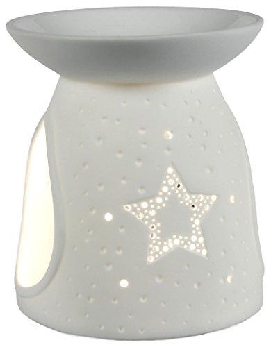 Himmlische Düfte Geschenkartikel GmbH Oilburner Stern Duftlampe, Porzellan, weiß, 10 x 10 x 12 cm