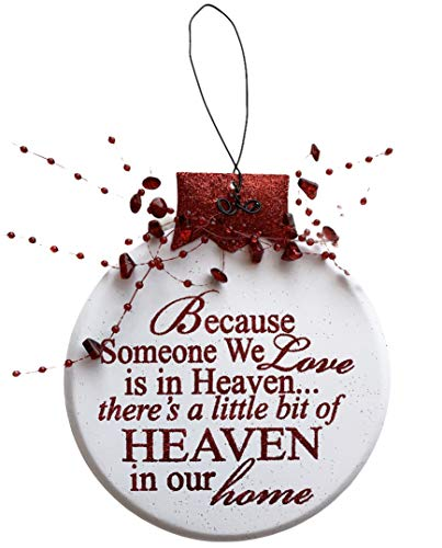 ORNAMENT HEAVEN'Because Someone we love is in Heaven, There's a little bit of heaven in our home' RED or CREAM Guardian angel Christmas Xmas Tree In Memory Bereavement Gift Silver White Metal