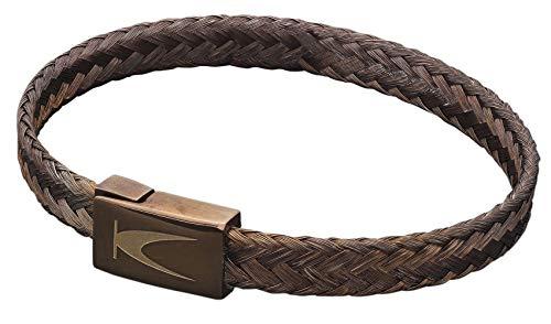 Karthe Jewels Stemond Bronze Techno Line - Pulsera para hombre y mujer, de plata 925, tejido de acero PVD, fabricada en Italia